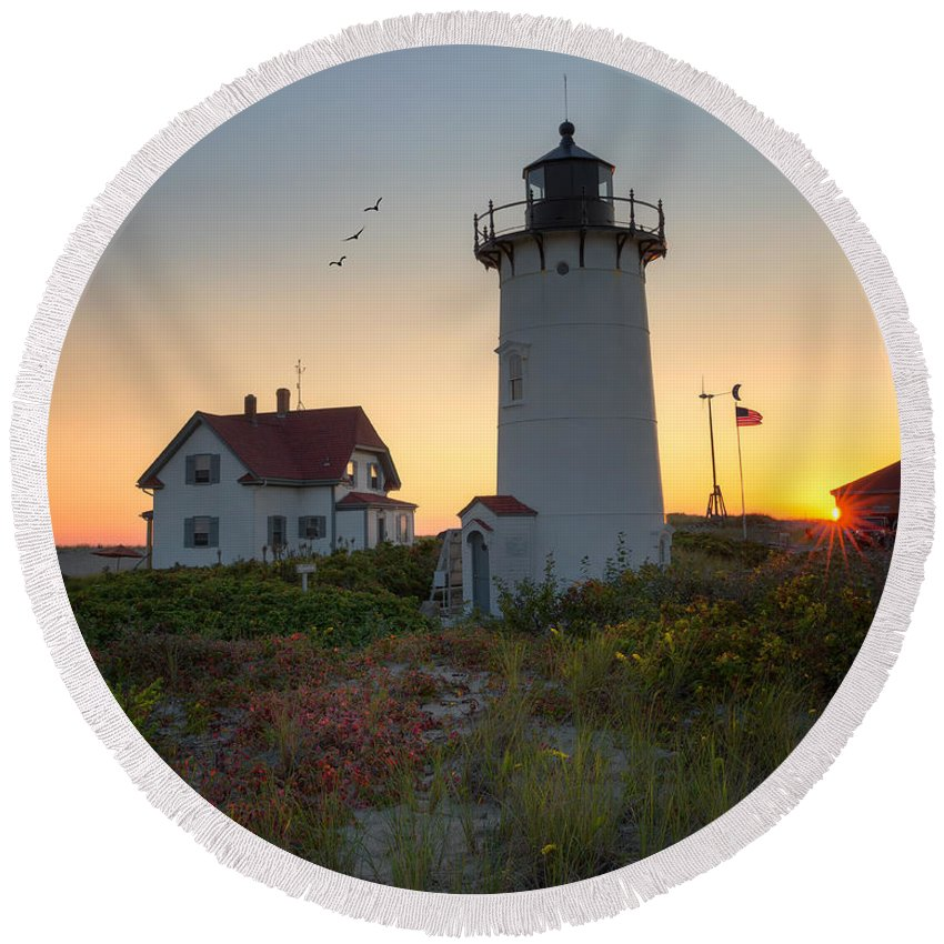 Race Point Light Round Beach Towel featuring the photograph Race Point Lighthouse 2015 by Bill Wakeley