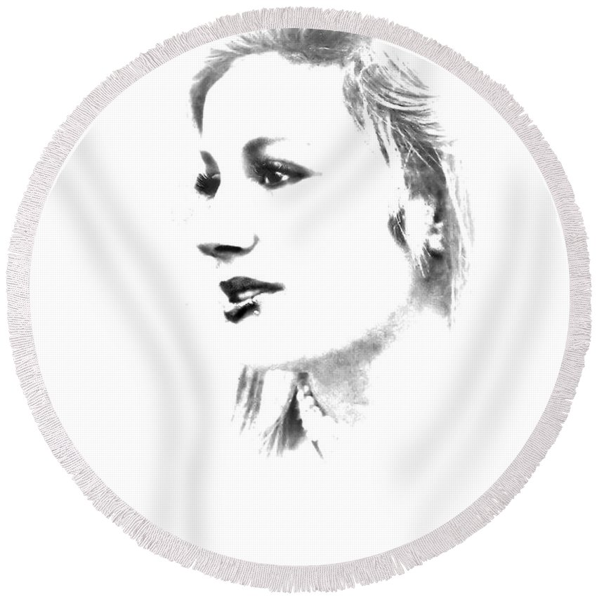 Black And White Round Beach Towel featuring the photograph Rachell by Kristie Bonnewell