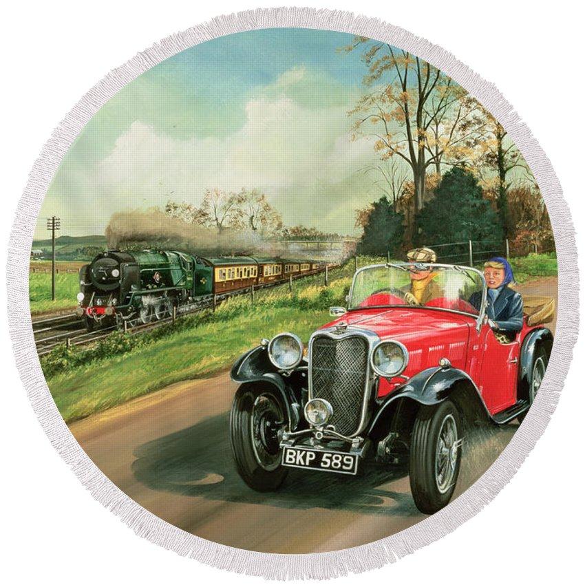 Car Round Beach Towel featuring the painting Racing The Train by Richard Wheatland