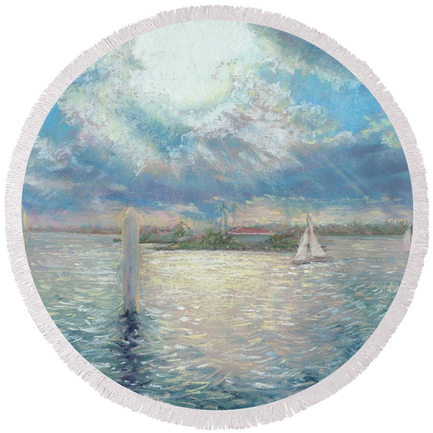 Snapper Island Round Beach Towel featuring the pastel Racing Yachts Past Snapper Island by Victoria Kitanov