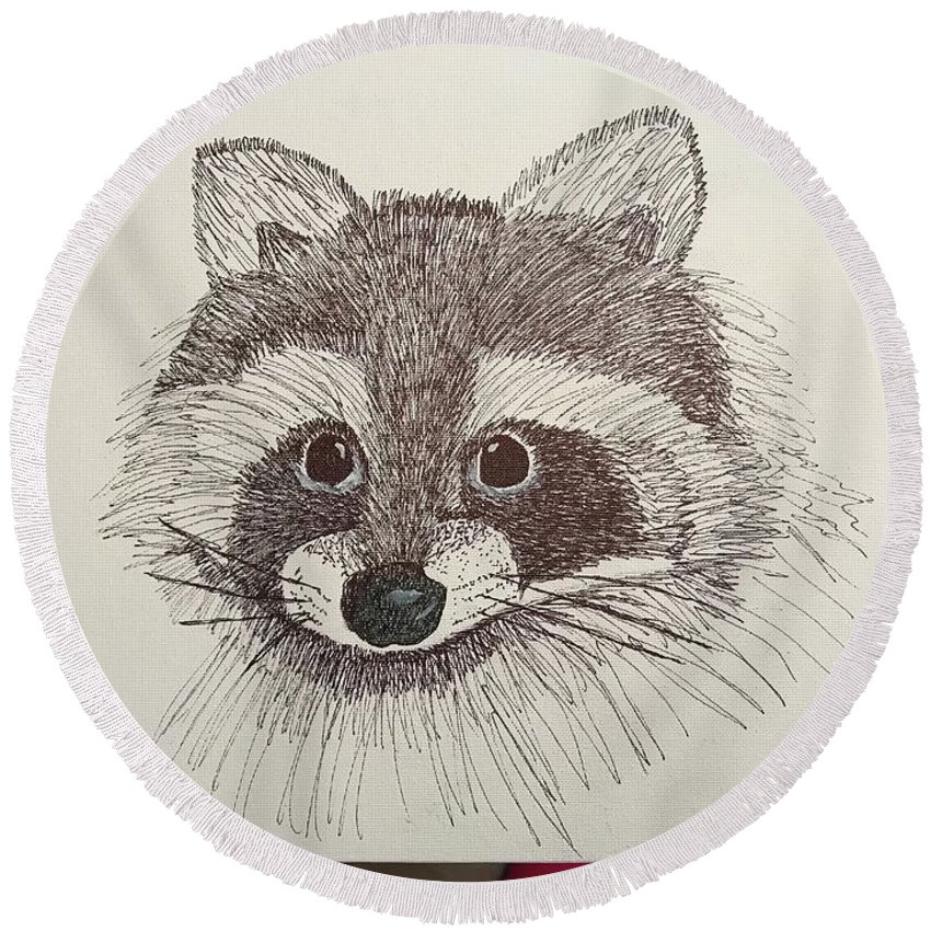 Round Beach Towel featuring the drawing Racoon by Elizabeth Hodges
