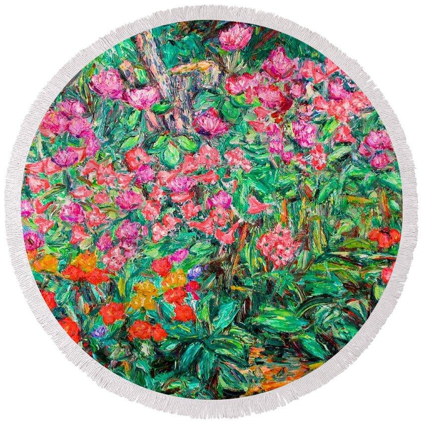 Kendall Kessler Round Beach Towel featuring the painting Radford Flower Garden by Kendall Kessler
