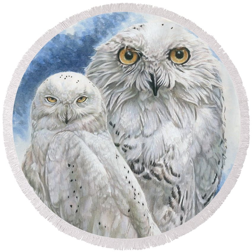 Snowy Owl Round Beach Towel featuring the mixed media Radiant by Barbara Keith