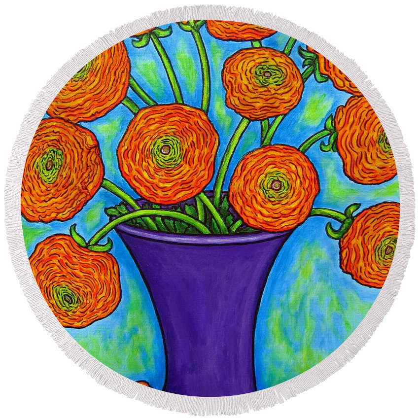 Green Round Beach Towel featuring the painting Radiant Ranunculus by Lisa Lorenz