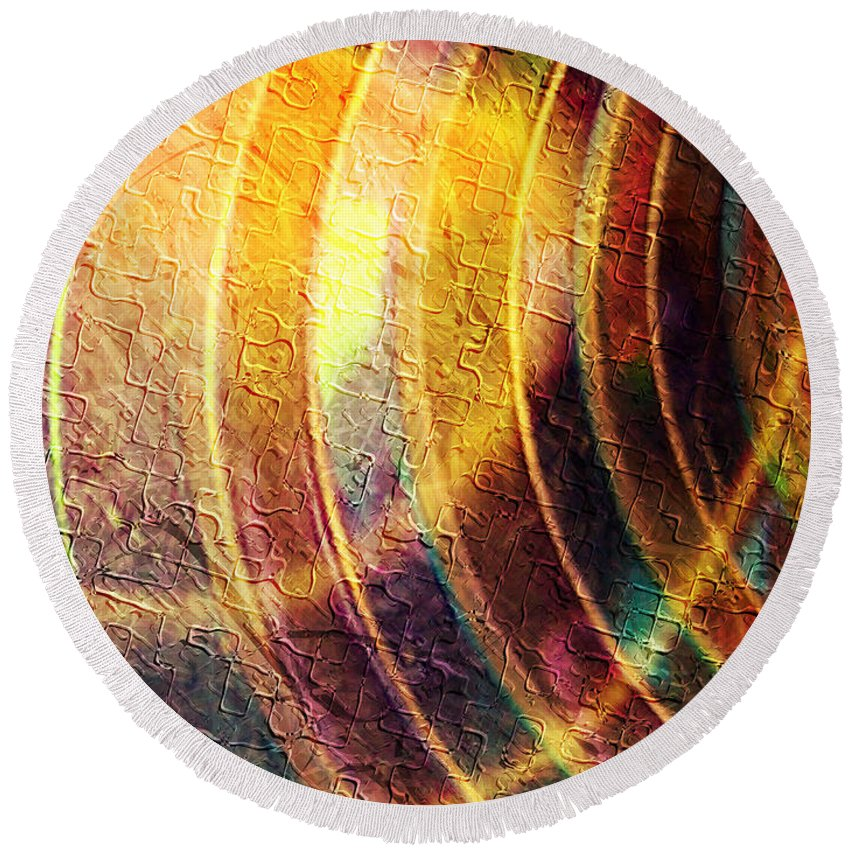 This Is A Mixed Media Artwork Consisting Of A Combination Of Fractal Round Beach Towel featuring the digital art Radiate by Kiki Art