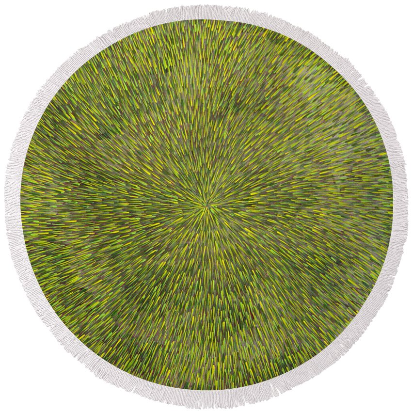 Abstract Round Beach Towel featuring the painting Radiation with Green with Yellow by Dean Triolo