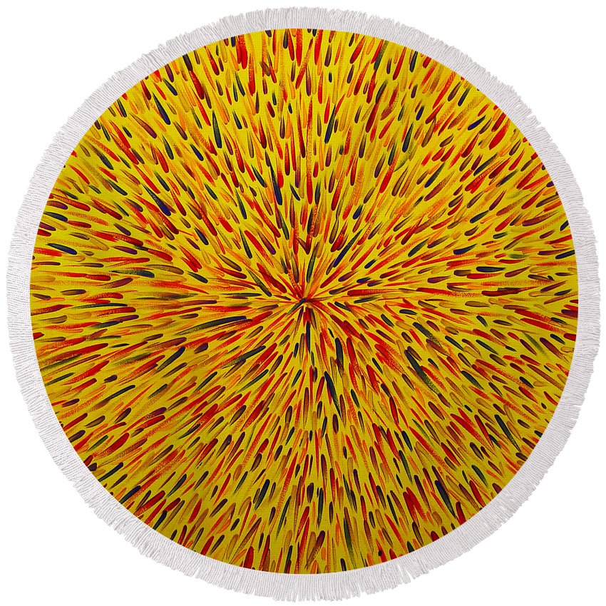 Abstract Round Beach Towel featuring the painting Radiation Yellow by Dean Triolo