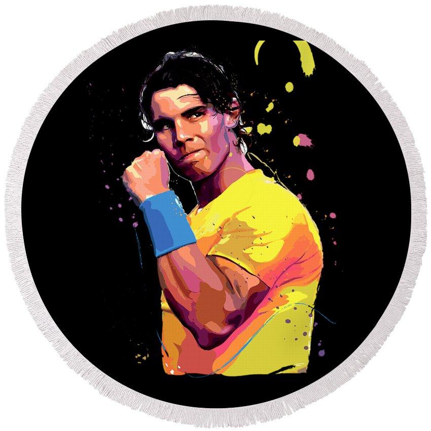 Nadal Round Beach Towel featuring the digital art Rafael Nadal by Cinta Pakelonan