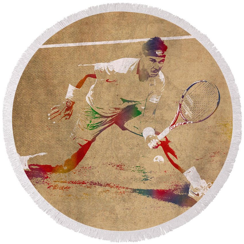 Rafael Nadal Round Beach Towel featuring the mixed media Rafael Nadal Tennis Star Watercolor Portrait On Worn Canvas by Design Turnpike