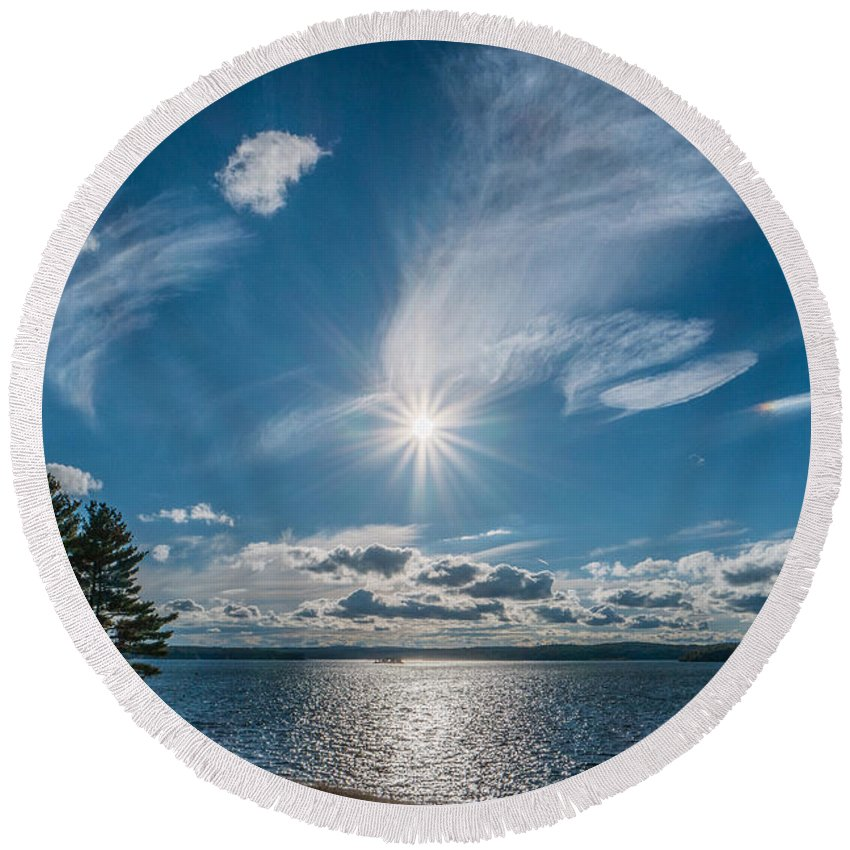 Landscape Round Beach Towel featuring the photograph Raging Cotton by Ronald Raymond