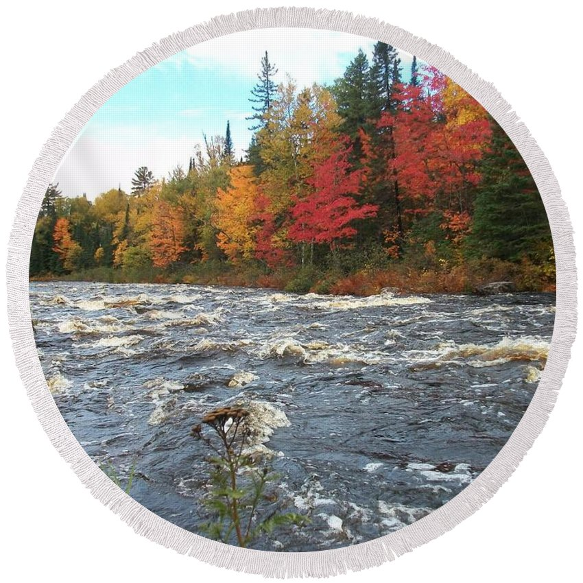 Michigamme River Framed Prints Round Beach Towel featuring the photograph Raging Michigamme River by Johnny Yen