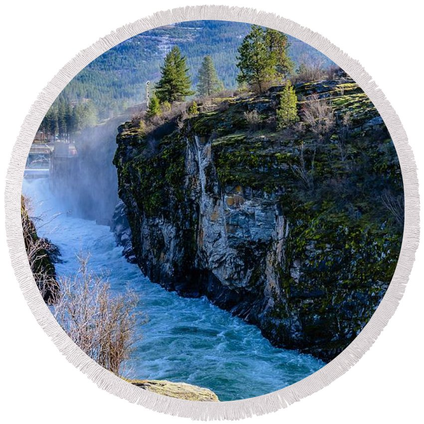 Post Falls Dam Round Beach Towel featuring the photograph Raging River by Sam Judy