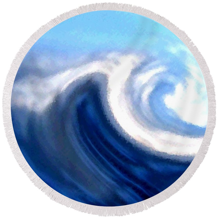 Abstract Round Beach Towel featuring the digital art Raging Sea by Will Borden
