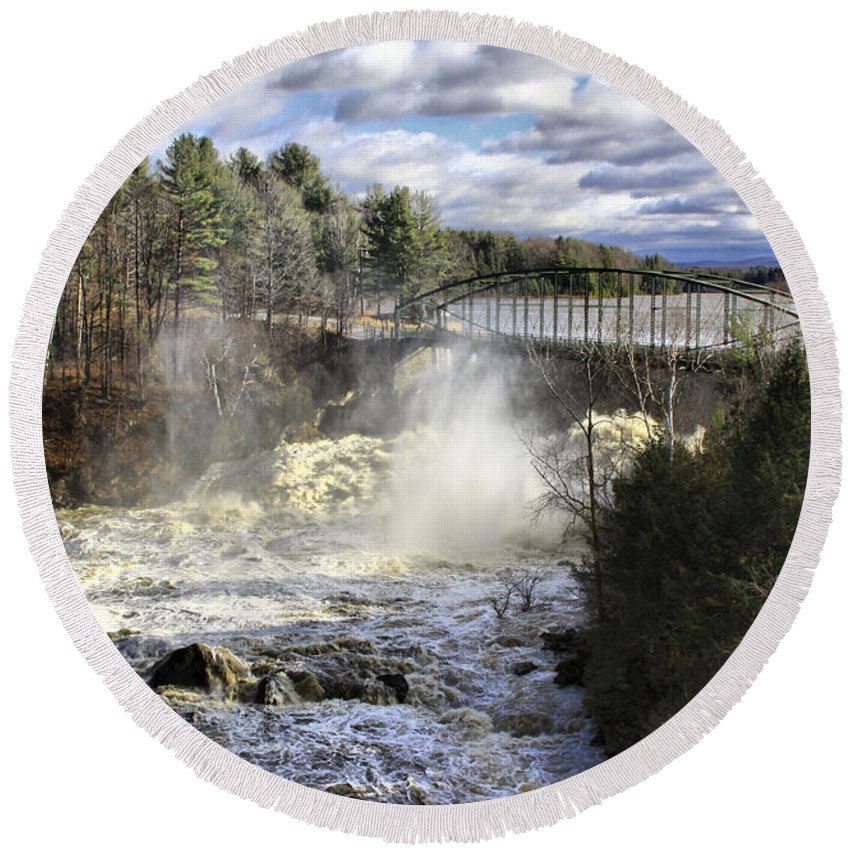Falls Round Beach Towel featuring the photograph Raging Water by Deborah Benoit
