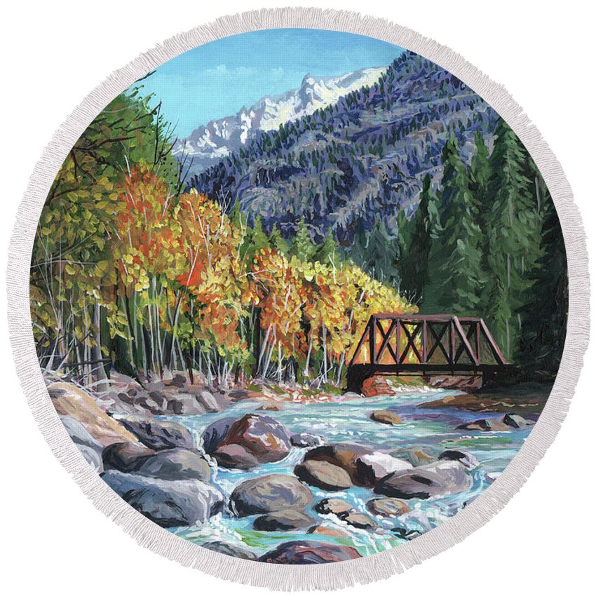 Timithy Round Beach Towel featuring the painting Rail Bridge At Cascade by Timithy L Gordon