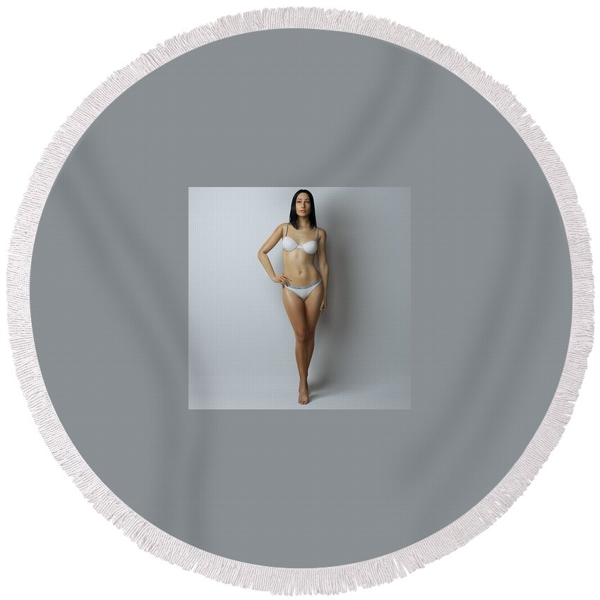 Round Beach Towel featuring the digital art Rail Male Enhancement by Julia Julia