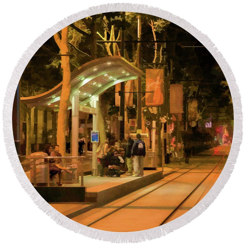 Architecture Round Beach Towel featuring the photograph Rail Stop Downtown San Jose California Night by Chuck Kuhn
