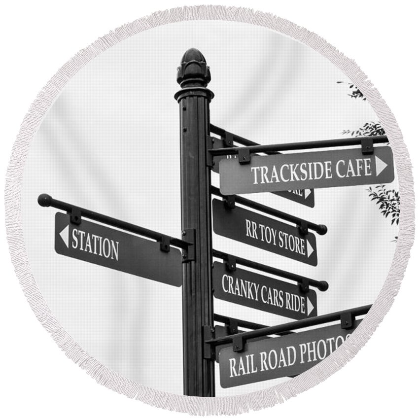 Blackankwhite Round Beach Towel featuring the photograph Railroad Directions_bw by Jennifer Wick