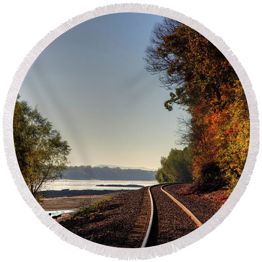 Hiking Round Beach Towel featuring the photograph Railroad Track By The Mississippi by Larry Braun