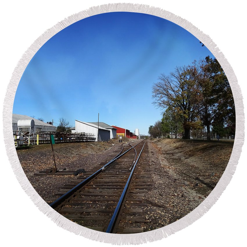 Illinois Round Beach Towel featuring the photograph Railroad Tracks Switch Station by Theresa Campbell