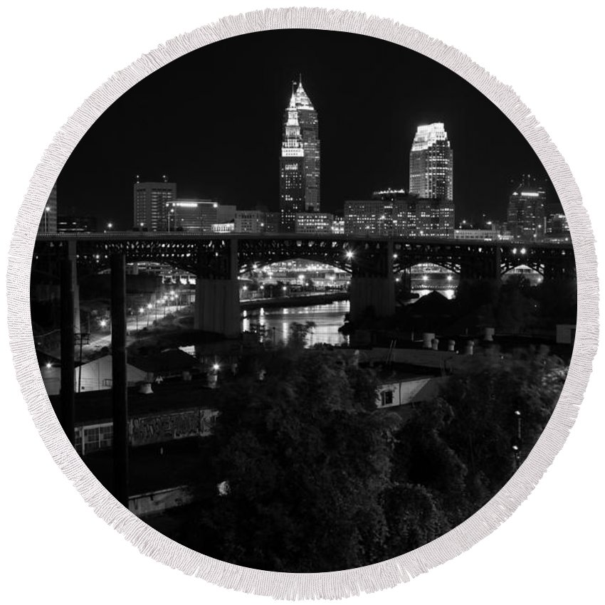 Superior Avenue Bridge Round Beach Towel featuring the photograph Rails Roads And Rust In Monochrome by J Allen