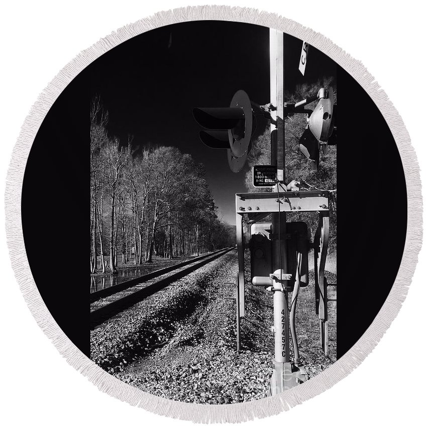 Robin Lewis Photography Round Beach Towel featuring the photograph Railway 2 Black And White by Robin Lewis