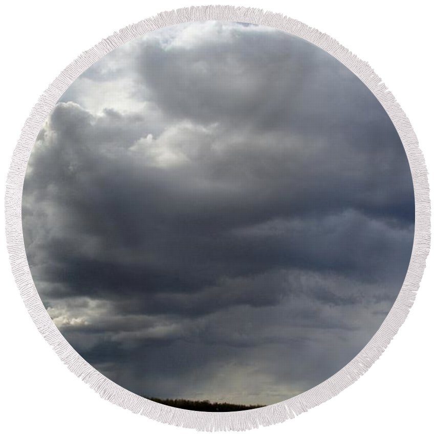 Clouds Round Beach Towel featuring the photograph Rain Cloud Near Miss by Ron Bissett
