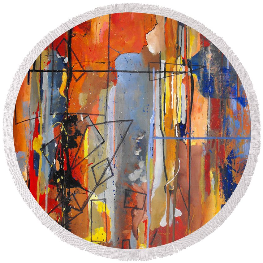 Abstract Round Beach Towel featuring the painting Rain Down by Ruth Palmer