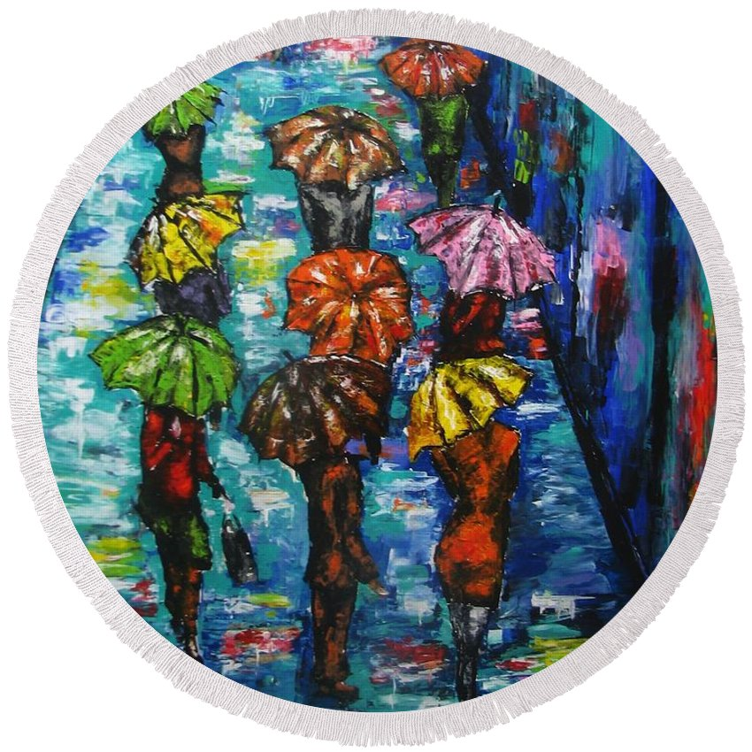 Rain Round Beach Towel featuring the painting Rain Fantasy Acrylic Painting by Natalja Picugina