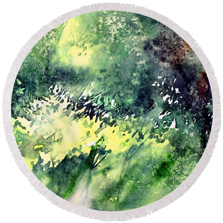 Landscape Watercolor Nature Greenery Rain Round Beach Towel featuring the painting Rain Gloss by Anil Nene