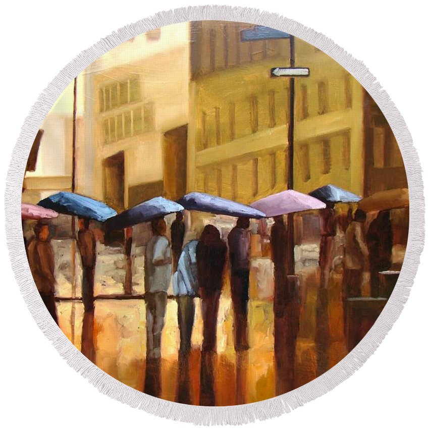 Cityscape Round Beach Towel featuring the painting Rain In Manhattan Number Seventeen by Tate Hamilton