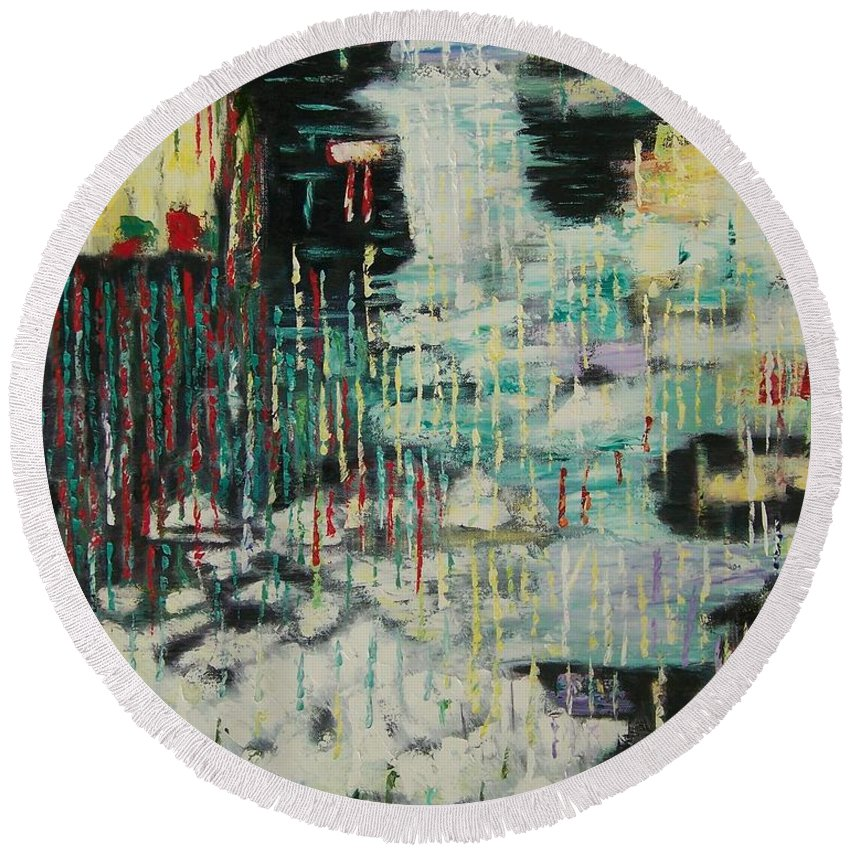 Abstract Rain Over Water Round Beach Towel featuring the painting Rain In My Soul by Linda King