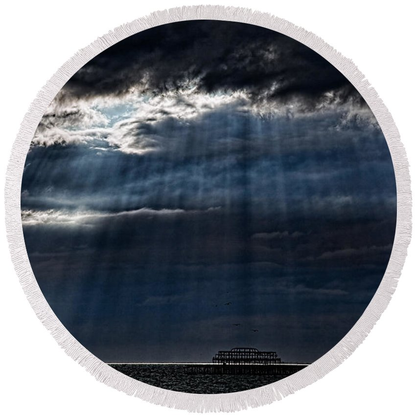 Brighton Round Beach Towel featuring the photograph Rain Is Coming To Brighton by Chris Lord