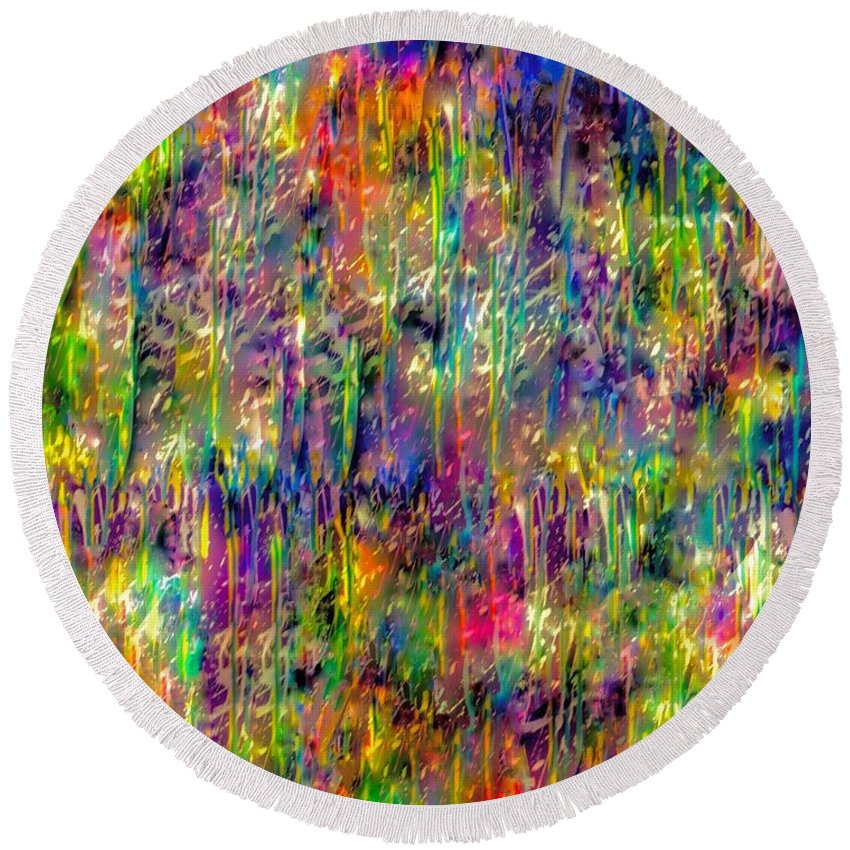 Abstract Painting Round Beach Towel featuring the mixed media Rain On The Poppy Field by Catalina Walker