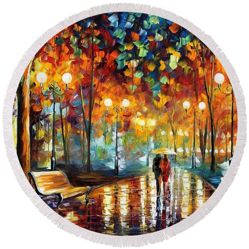 Afremov Round Beach Towel featuring the painting Rain Rustle by Leonid Afremov