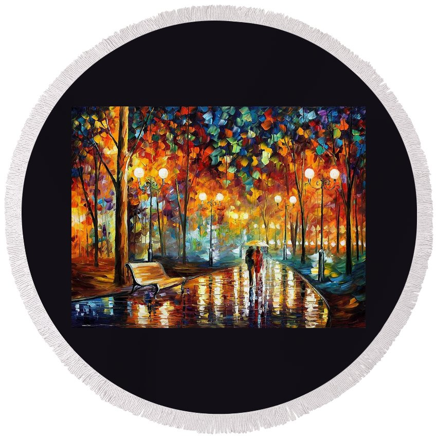 Afremov Round Beach Towel featuring the painting Rain Rustle by Leonid Afremov