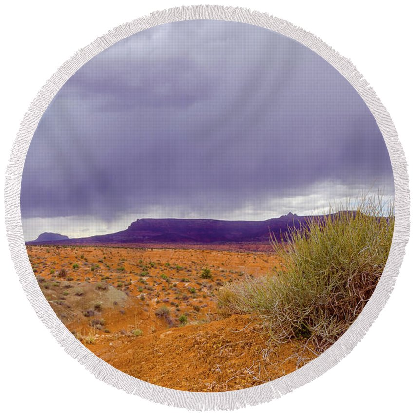 Paria Round Beach Towel featuring the photograph Rain Storm by Jerry Sellers