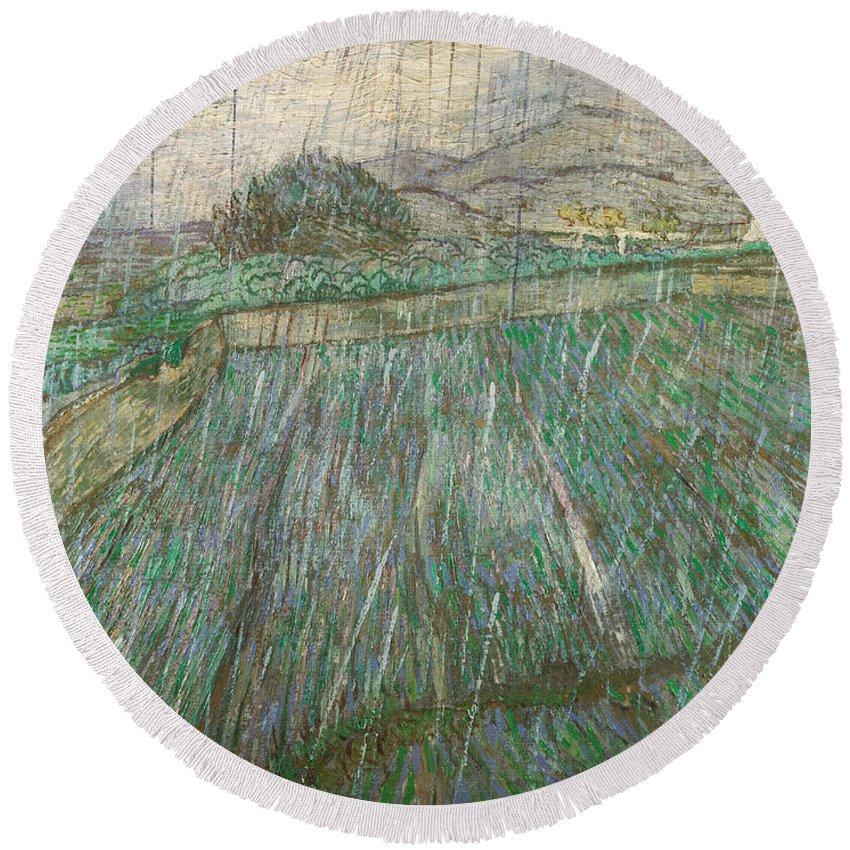 Van Gogh Round Beach Towel featuring the painting Rain by Vincent van Gogh