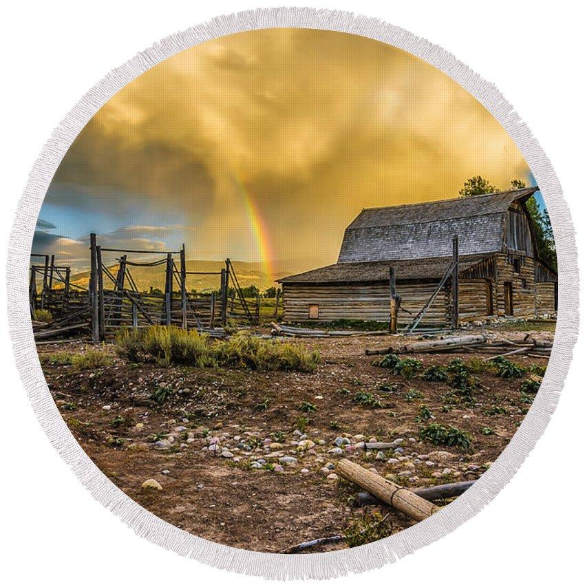 Grand Teton National Park Round Beach Towel featuring the photograph Rainbow At Moulton Barn by John Trax