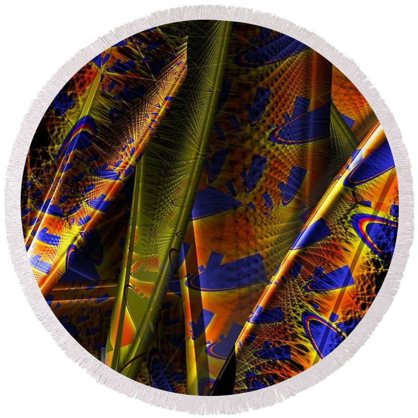 Rainbow Round Beach Towel featuring the digital art Rainbow Baleen Stack by Ron Bissett