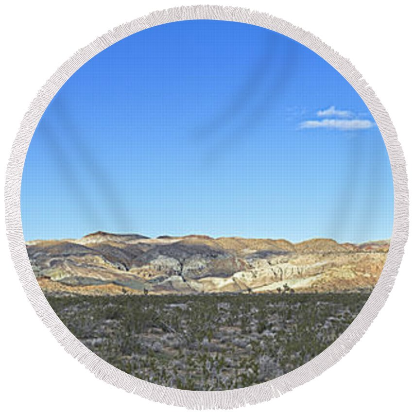 Barstow Round Beach Towel featuring the photograph Rainbow Basin by Jim Thompson