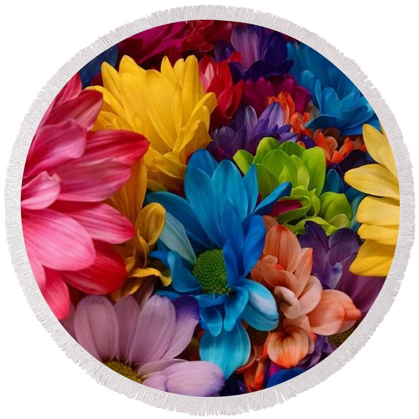 Round Beach Towel featuring the photograph Rainbow Bouquet by Barbra Kotovich