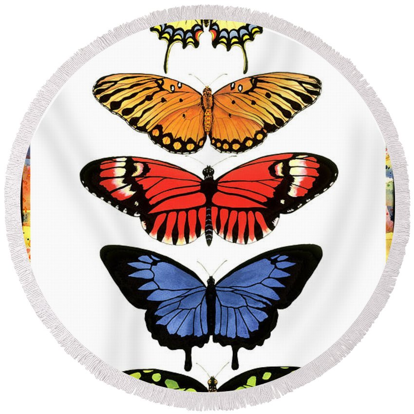 Butterflies Round Beach Towel featuring the painting Rainbow Butterflies by Lucy Arnold