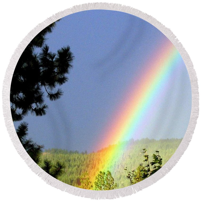 Rainbow Round Beach Towel featuring the photograph Rainbow Covenant by Will Borden