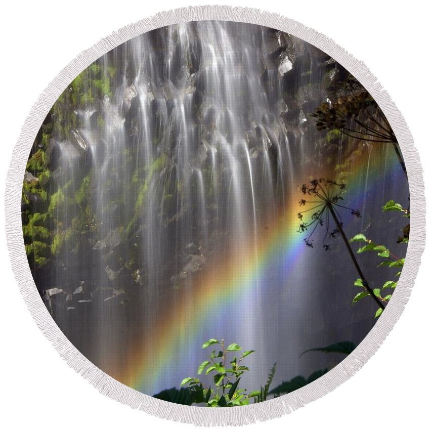 Waterfall Round Beach Towel featuring the photograph Rainbow Falls by Marty Koch