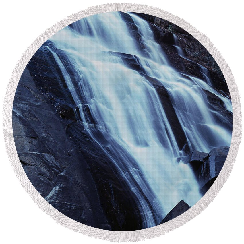 Waterfall Round Beach Towel featuring the photograph Rainbow Falls by Richard Rizzo