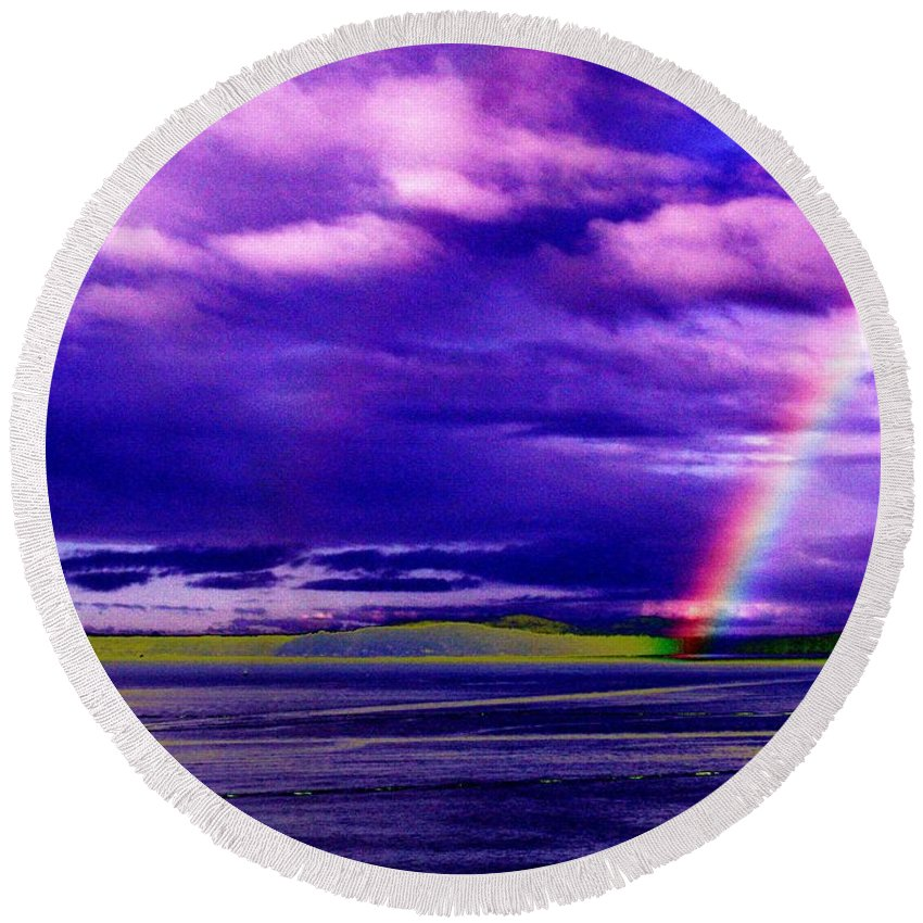 Seattle Round Beach Towel featuring the photograph Rainbow Ferry by Tim Allen