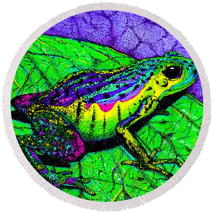 Frog Round Beach Towel featuring the drawing Rainbow Frog 2 by Nick Gustafson