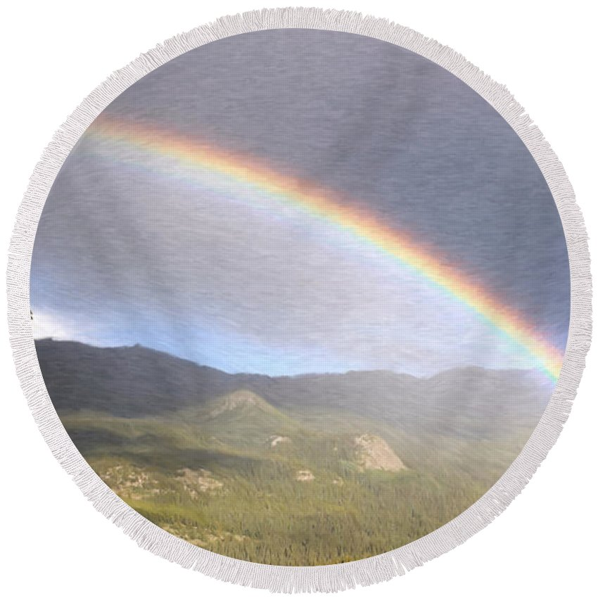 Arch Round Beach Towel featuring the painting Rainbow - Id 16217-152042-2683 by S Lurk