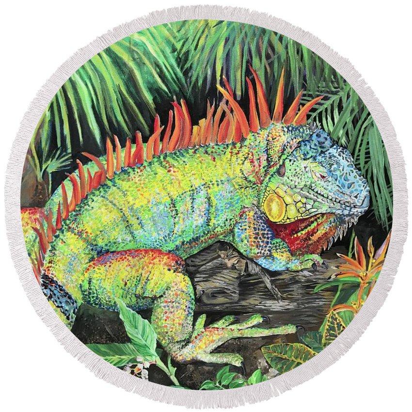 rainbow iguana round beach towel for sale by amanda zirzow